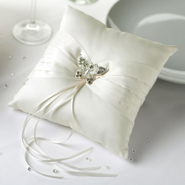 Elegant Butterfly Wedding Ring Cushion - Ivory & Gold